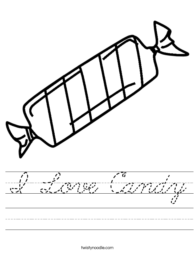 I Love Candy Worksheet