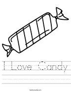I Love Candy Handwriting Sheet