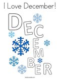 I Love December! Coloring Page