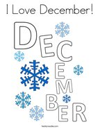 I Love December Coloring Page