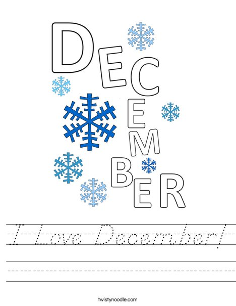 I Love December! Worksheet