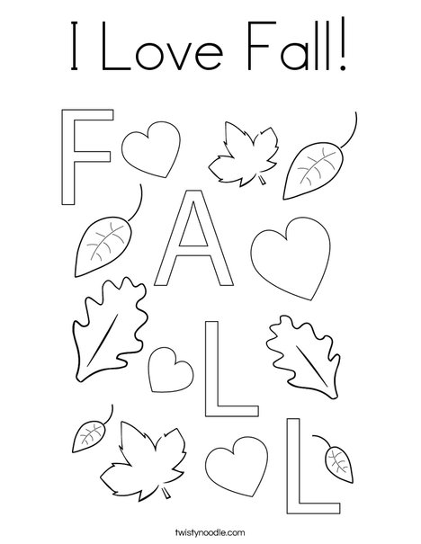 I Love Fall! Coloring Page