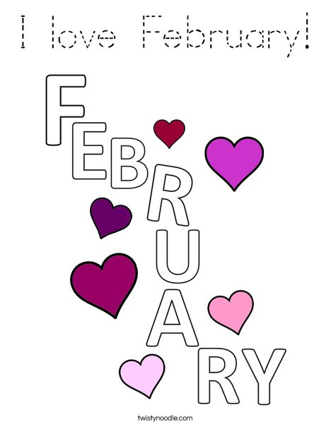 I Love February! Coloring Page