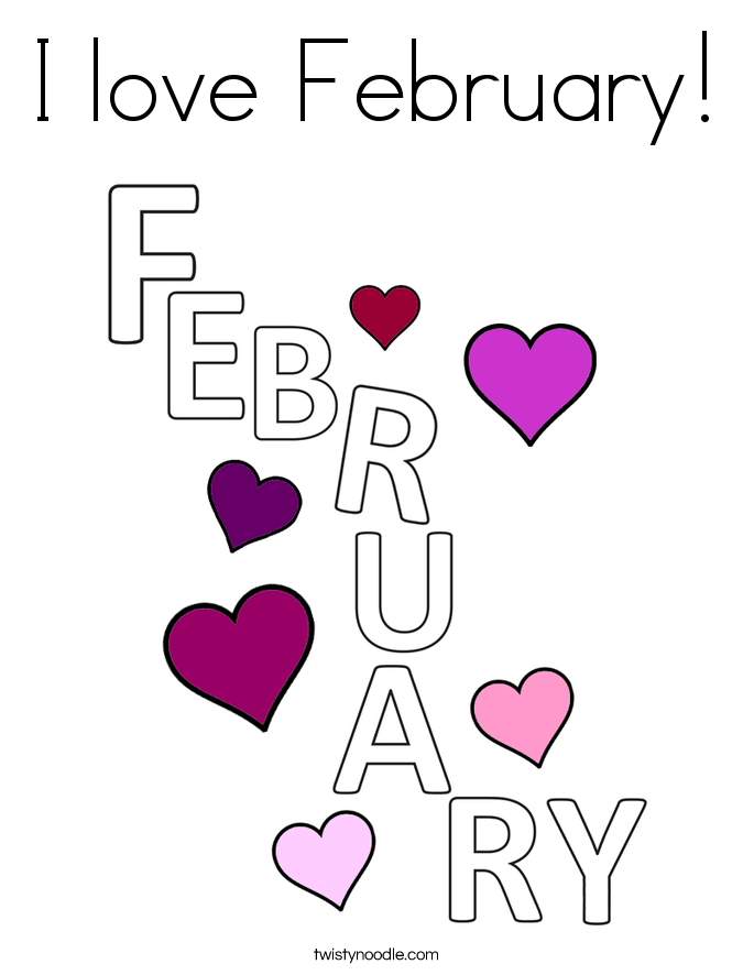 i love february coloring page - February Coloring Pages