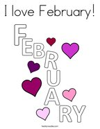 I love February Coloring Page