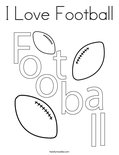 I Love Football Coloring Page