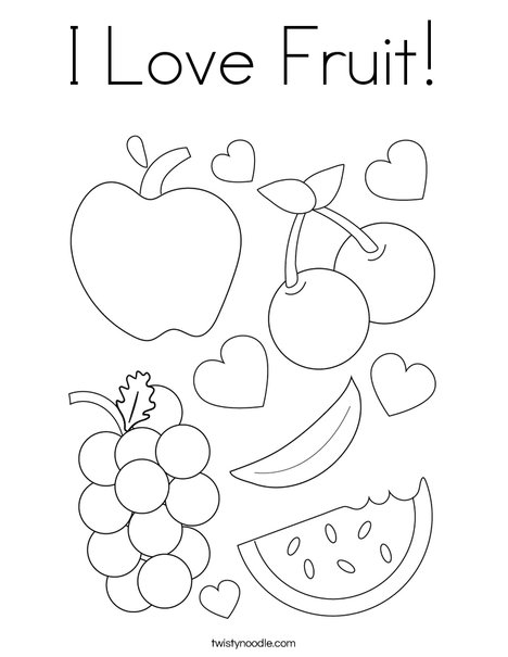 I Love Fruit! Coloring Page