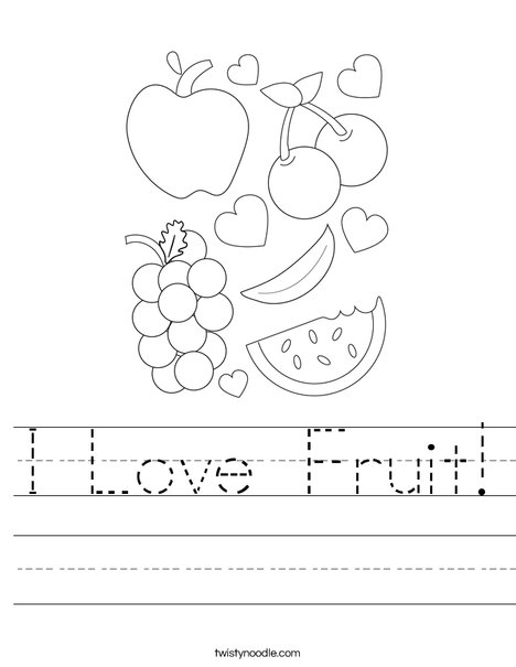 I Love Fruit! Worksheet