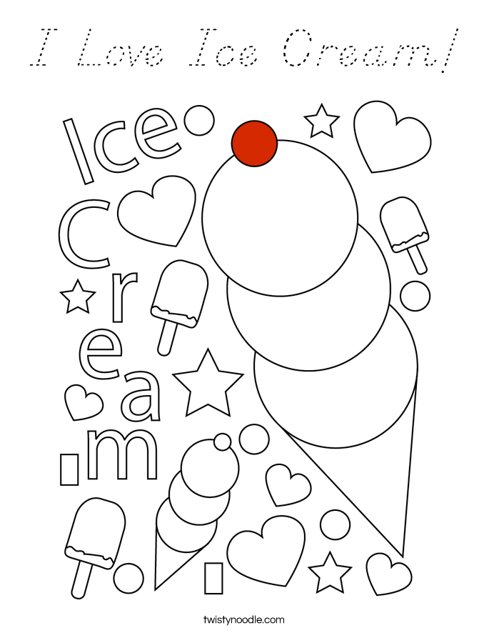 I Love Ice Cream! Coloring Page