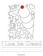 I Love Ice Cream Handwriting Sheet