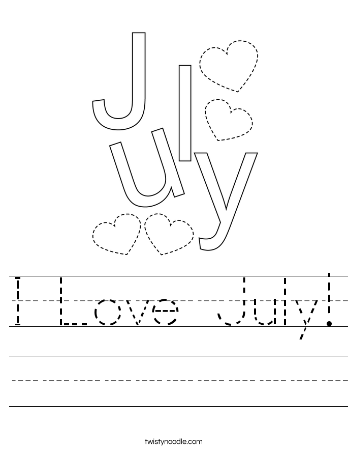 I Love July! Worksheet