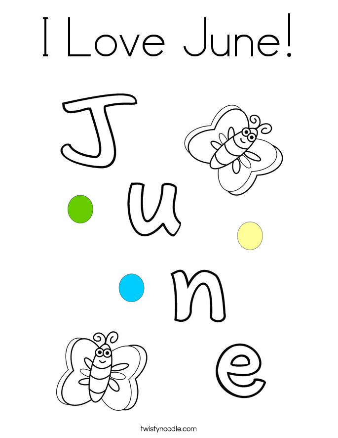 I Love June! Coloring Page