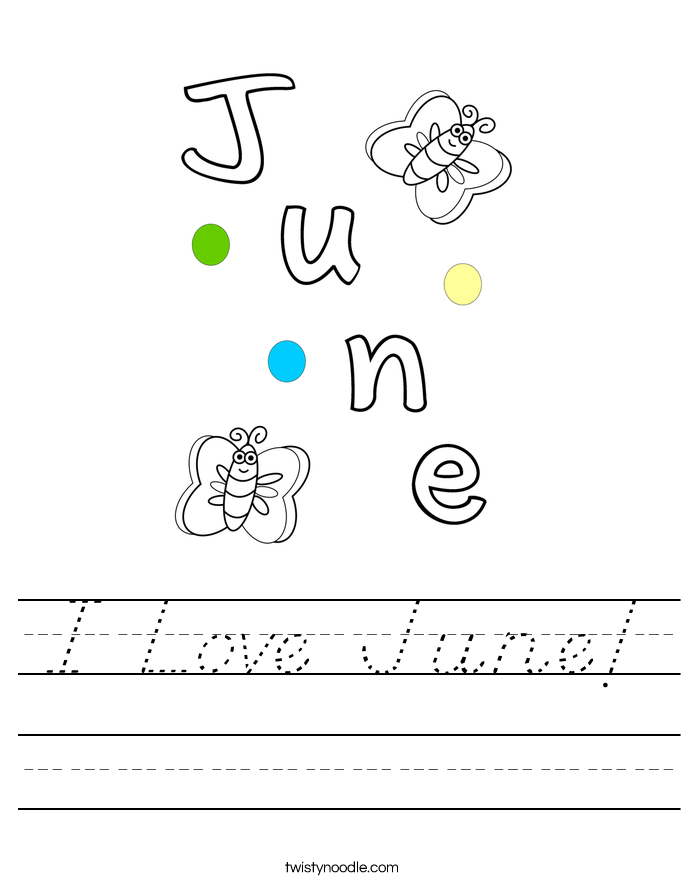 I Love June! Worksheet