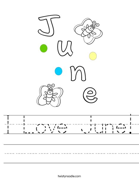 I Love June! Worksheet