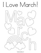 I Love March Coloring Page