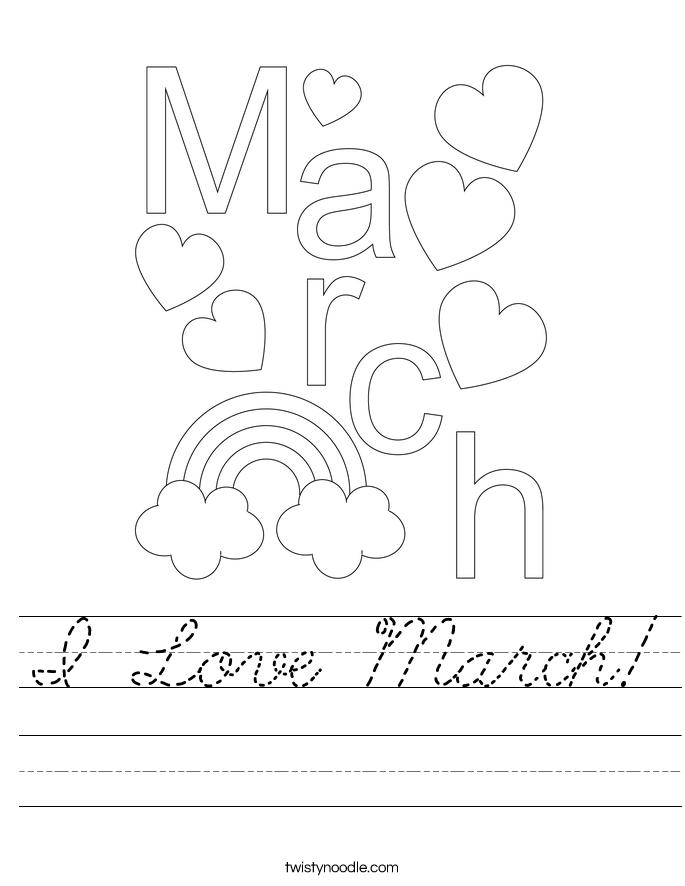 I Love March! Worksheet
