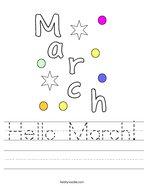 Hello March Handwriting Sheet