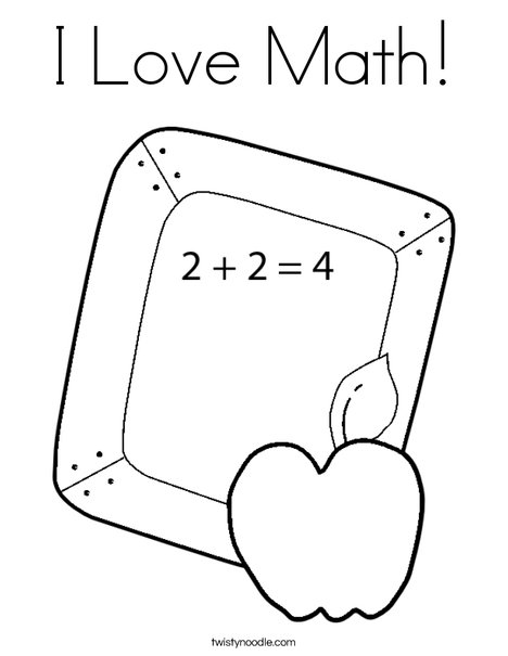 I Love Math Coloring Page - Twisty Noodle