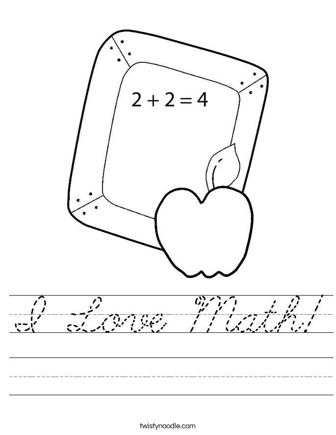 I Love Math! Worksheet