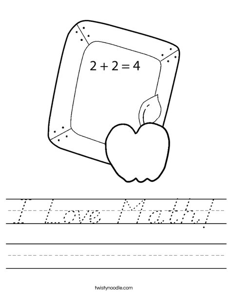 I Love Math! Worksheet