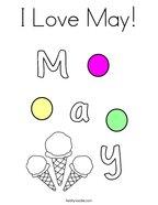 I Love May Coloring Page