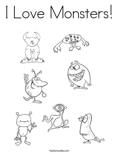 I Love Monsters Coloring Page