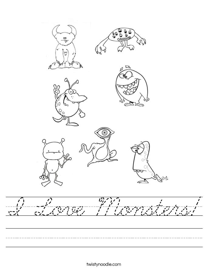 I Love Monsters! Worksheet