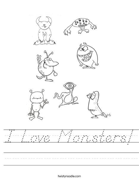I Love Monsters Worksheet