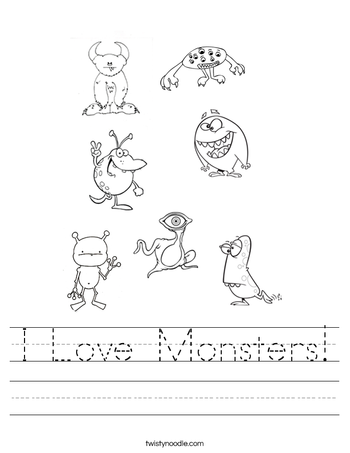 I Love Monsters! Worksheet