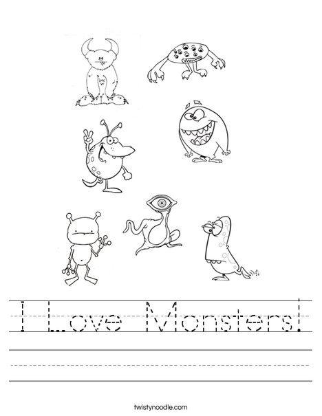 I Love Monsters Worksheet