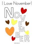 I Love November! Coloring Page