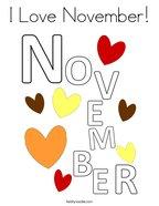 I Love November Coloring Page
