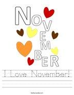 I Love November Handwriting Sheet