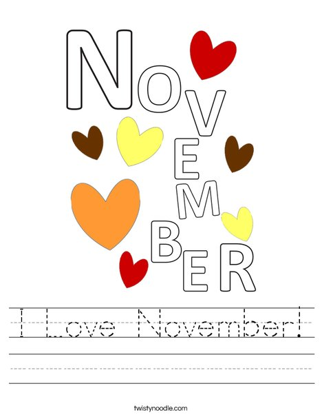 I Love November! Worksheet