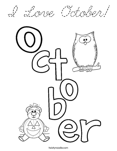 I Love October! Coloring Page