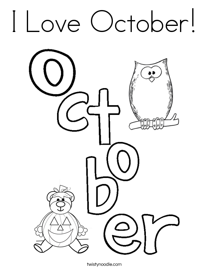 I Love October Coloring Page - Twisty Noodle