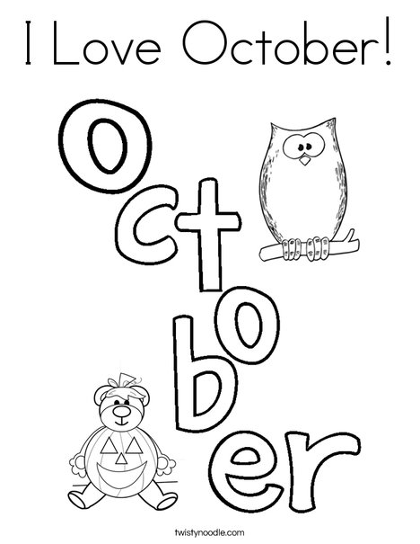 I Love October Coloring Page Twisty Noodle