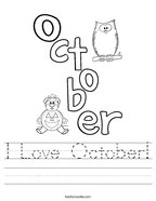 I Love October Handwriting Sheet