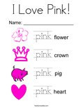 I Love Pink! Coloring Page