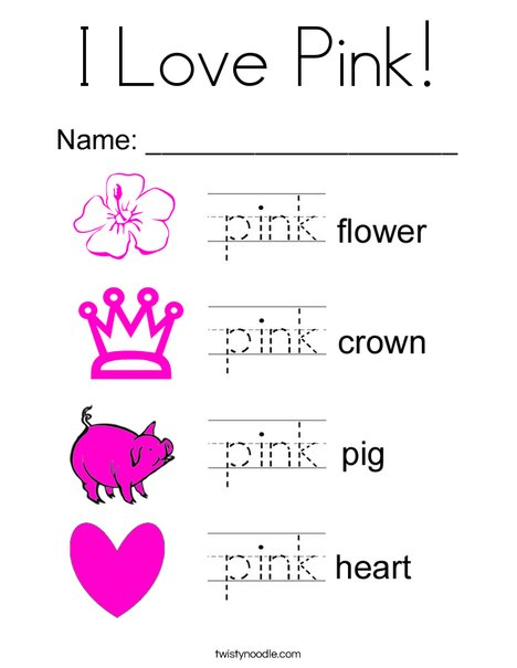 I Love Pink Coloring Page