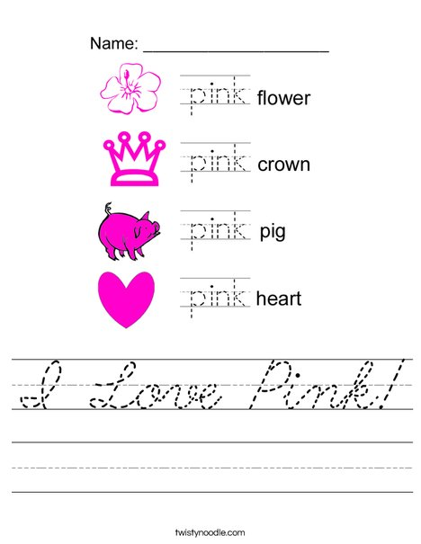 I Love Pink Worksheet