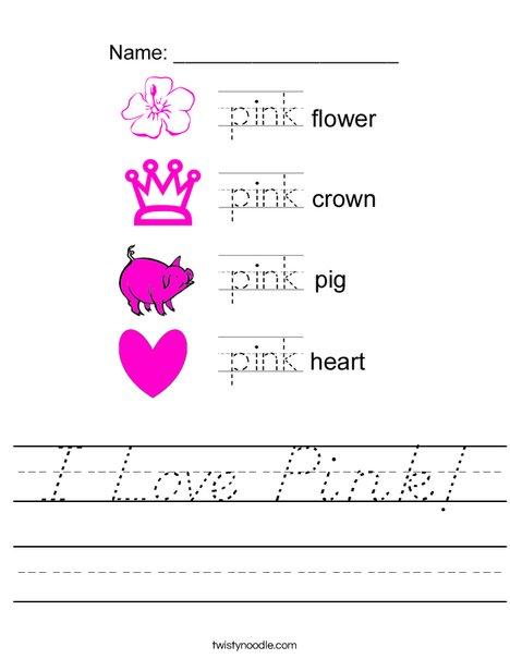 I Love Pink Worksheet
