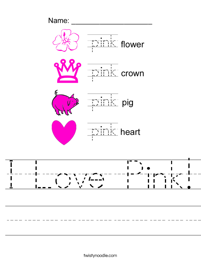 I Love Pink! Worksheet