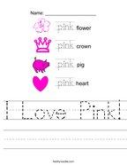I Love Pink Handwriting Sheet