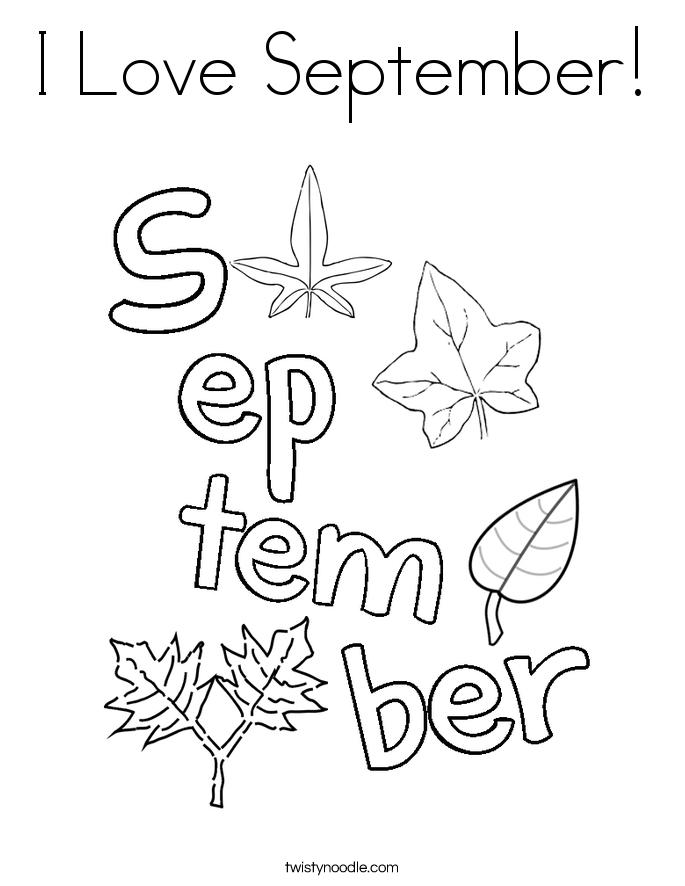 I Love September Coloring Page