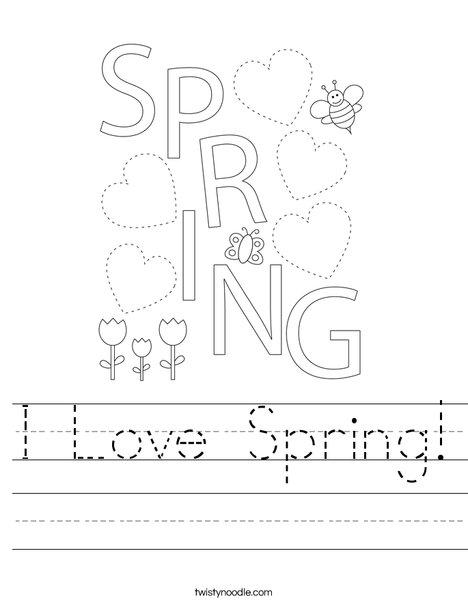 I Love Spring Worksheet