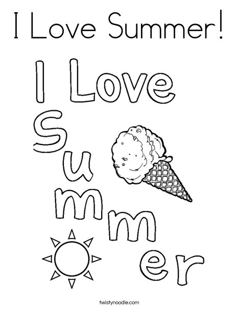 I Love Summer Coloring Page - Twisty Noodle