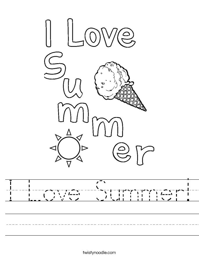 I Love Summer! Worksheet