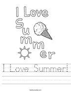 I Love Summer Handwriting Sheet
