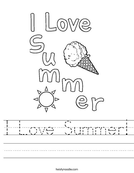 I Love Summer! Worksheet